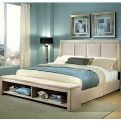 affordable bed with some storage