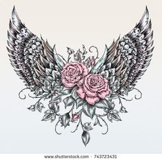 Bull Skull Roses On Her Head Stock Vector (Royalty free) 529046215 - wings drawing in tattoo style - Belly Tattoos, Stomach Tattoos, Mom Tattoos, Cute Tattoos, Beautiful Tattoos, Flower Tattoos, Body Art Tattoos, Sleeve Tattoos, Tummy Tattoo