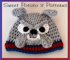Bulldog Hat PATTERN  Crochet by SweetPotato3Patterns on Etsy, $3.75
