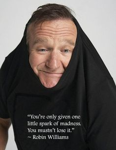 """""""You're only given one little park of madness. You mustn't lose it."""" - Robin Williams"""