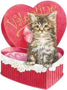 Vintage Victorian Valentine with Kitten in Heart Shaped Candy Box