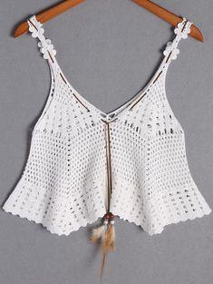 "Diy Crafts - Off-White Crochet Tank Top women, men, hats, watches, belts ""Off-White Crochet Tank Top"" Crochet Tank Tops, Crochet Shirt, Crochet Cardigan, Crochet Vests, Crochet Bikini Pattern, Crochet Cape, Knit Crochet, Crochet Edgings, Crochet Motif"