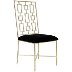 Tetris Hollywood Regency Silver Black Velvet Dining Side Chair ($648) ❤ liked on Polyvore featuring home, furniture, chairs, dining chairs, old hollywood furniture, hollywood glamour furniture, hollywood regency furniture, geometric chair and metallic furniture