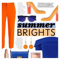 """Summer Brights"" by tasnime-ben ❤ liked on Polyvore featuring STELLA McCARTNEY, Pollini, Lanvin, LULUS, Irene Neuwirth and Clinique"