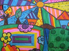Landscapes inspired by artist Romero Britto. Media: markers, Grade 4