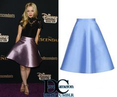 Dove wore this EXACT skirt at the Descendants premiere (July 24, 2015)Lublu Kira Plastinina Departure Party Skirt in Lavender (not photographed)Price: $150; only blue, fuchsia, & black available online