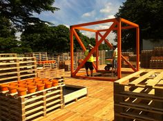 World vision orange pots and Grow Hope boxes in position