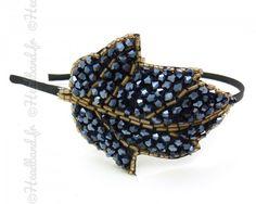 Serre-tête perles feuille bleutée