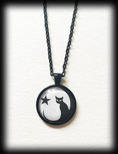 Glass Cameo Gothic Witchy Necklace - Black Cat with Full Moon and Star - Halloween - Wicca - Pagan by WhisperToTheMoon on Etsy