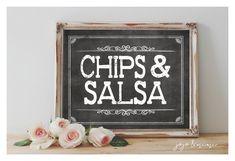 Instant 'CHIPS & SALSA' Printable Sign Chalkboard by JoJoMiMi