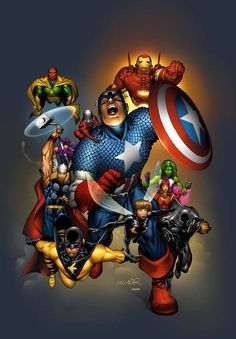 This was a cover to an Avengers Roster Handbook penciled by Salvador LaRocca.  I Love the Coloring!!