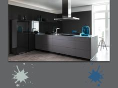 Color granito, alluminio e blu oceano profondo: una fantastica tavolozza moderna, per una cucina di classe e high tech. A chi piace questo stile innovativo? #grey #palette #colourfull #kitchen #interiordesign