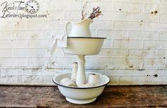 Old enamelware bowls repurposed into tiered storage stands ~~via knickoftimeinteri...