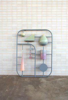 "Kristin Walsh, ""Plastic components of Modernism,""2012, welded steel frame with fiberglass elements"