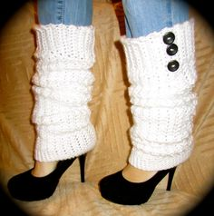 White Crochet  Leg Warmers Size Large by uniquelyyourscouture, $25.00
