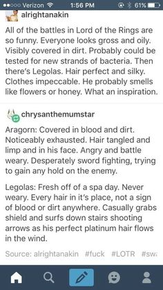 Legolas in battle vs. everyone else, lotr
