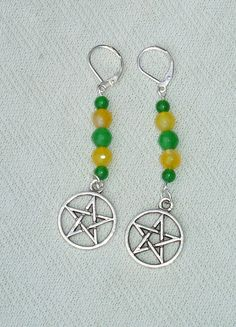 Long Colorful Gemstone Beaded Pentagram Dangle Earrings - $15.99 - Handmade Jewelry, Crafts and Unique Gifts by Harmonee's Magickal Creations