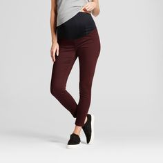 Maternity Crossover Panel Skinny Jeans - Isabel Maternity by Ingrid & Isabel Black Raspberry 2, Women's, Red