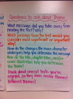 Adventures of a 6th Grade Teacher: October 2012: Theme Anchor Chart