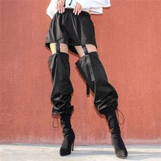 Hollow Out Harem Pants High Waist Drawstring Hem Loose Black Trousers -Detachable Buckle Hollow Out Harem Pants High Waist Drawstring Hem Loose Black Trousers - Club Exx Commander Smoke Unisexx Cargo Pants Hipster Outfits, Edgy Outfits, Mode Outfits, Hipster Clothing, Skirt Outfits, School Outfits, Fashion Pants, Fashion Outfits, Suspenders Fashion