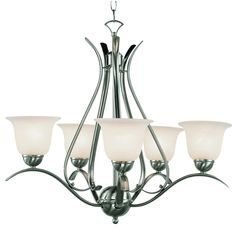 Trans Globe Lighting 9285 BN Contemporary Collections 5 Light Chandelier