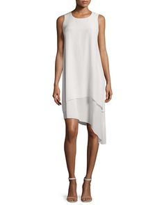 """Eileen Fisher dress features double-layer, bias-draped designyour choice of color. Approx. length: 27""""L down center front; 34.5""""L down back. High, round neckline; sleeveless. Keyhole with clasp behind"""