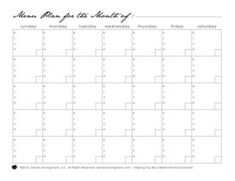Monthly Menu Plan Printable  Menu Planning Monthly Menu And Menu