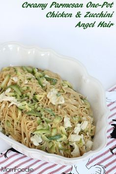creamy parmesan one pot chicken & zucchini angel hair pasta
