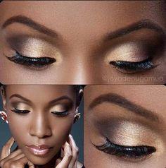 Gold Eyeshadow | Eye Makeup Ideas for Black Women | Everyday Makeup Look For Dark Skin Tone by Makeup Tutorials at http://makeuptutorials.com/8-eyeshadow-ideas-black-women-eye-makeup-ideas/