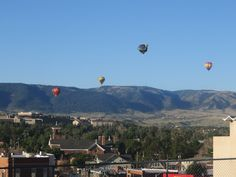 Casper Balloon Roundup 2015:  the prevailing winds sent the balloons travelling in an easterly direction from the Fairgrounds across the city; Casper Mountain in the background.