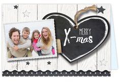 Kerstkaart met verhuisbericht. Versierd met krijtbord print en hout look zelf maken! Ruimte voor 1 eigen foto. Gratis verzending binnen Nederland en Belgie
