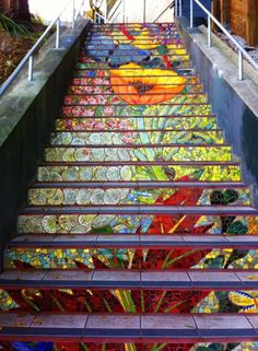 A community project to brighten up the neighbourhood, where they tiled 163 steps
