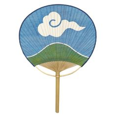 うちわ (山に雲) a (round) fan