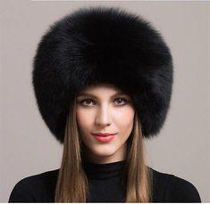 Women Real Black Fox Fur Hat Russian Winter Warmer Ear Cap Ushanka Cossack  Ski  LandscapingIdeasAndTips dfdf70d75165