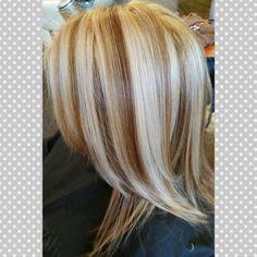Calling this color. Caramel latte :) a caramel brown base with white platinum blonde highlights :D #pravana salon envy #blondor long layers diminsional