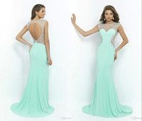 Cheap Long Mint Green Prom Dresses 2015 Scalloped Neck Backless Slim Fitted Crystals Beaded Prom Gowns Modest Dresses Party Evening Custom FY79