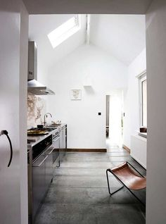 Clean kitch; i like the shape of the room, which seems to be identical with the shape of the house