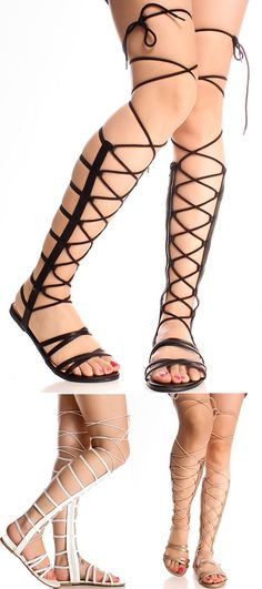 These gladiator sandals feature a open toe look, multi elastic strap design, side zipper, lace design, Great for that casual look, Sandal measures about 17 inches from top to bottom.