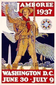 United States Travel Art Poster Print 1937 Boy Scouts Jamboree Washington D.C
