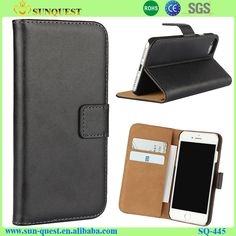 Wallet Style Genuine Leather Case for iPhone 7 with Three Card Slots
