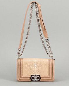 Chanel Beige Stingray Small Boy Crossbody Flap Bag