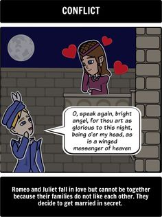How does shakespeare present conflict in Romeo and Juliet?