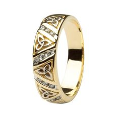 This Shanore wedding band incorporates a Celtic Trinity knotdesign which symbolizes a love never ending. It has been beautifullyhand-crafted and Channel set with Diamonds in 14 karat Yellow gold. It also hasa unique special feature known as comfort fit which allows for the ring to beworn on the finger with ease. Comfort fit is where the inside of the band isdomed with a slight curve.