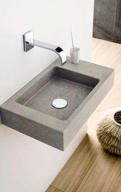 "Extraklein: Waschbecken ""Mini-Square"" - Bild 5 - Abd My Site Concrete Basin, Concrete Bathroom, Concrete Furniture, Bathroom Furniture, Modern Bathroom, Small Bathroom, Wall Mounted Taps, Wc Design, Downstairs Toilet"