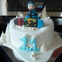 Snowboard Cake Thanks to everyone in CC for inspiration Snowboard Cake, Cake Central, Cookie Do, Just Cakes, Cookies Policy, Birthday Cake, Winter, Desserts, Snow Fashion