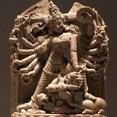 Durga killing the demon Mahisha, Bangladesh, 12th c., stone MMA 1993.7b #themet #metmuseum #metropolitanmuseumofart #metropolitanmuseum