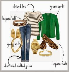 Leopard and Green....AND STRIPES!  Add some distressed cuffed jeans and a little gold jewelry and you have a perfect fall outfit!  Post has links to items that will help you create the look for yourself!
