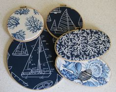 Embroidery Hoop Wall Art Nautical Collection in by DesignsByNancyT, $24.00