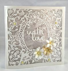 Handmade card using Die'sire create a card die. Flowers made with Sara Davies Signature die. Step Cards, Diy Cards, Die Cut Cards, Love Cards, Crafters Companion Cards, Wedding Cards Handmade, My Scrapbook, Scrapbooking, Spellbinders Cards