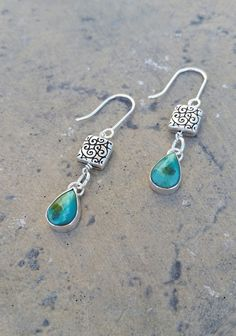 Chinese Turquoise Drop Earrings by CatsCreationsLLC on Etsy